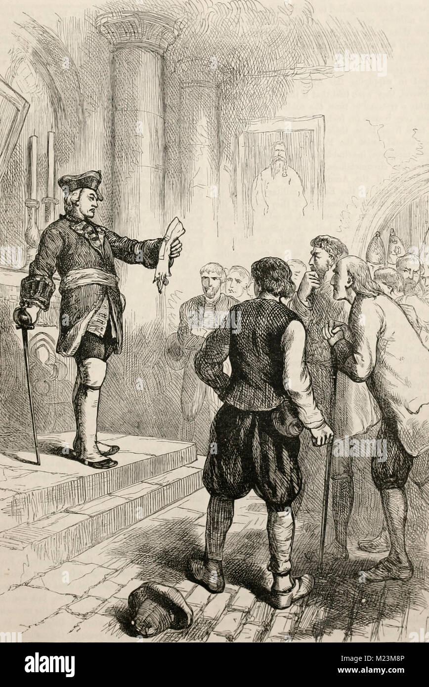 Edward Winslow reading the Royal Proclamation - Stock Image