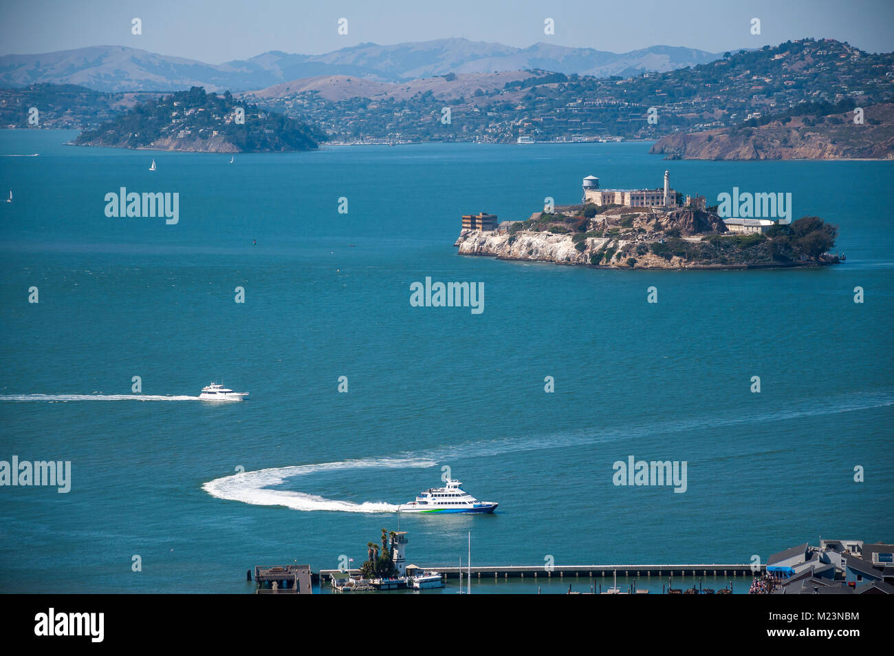 SAN FRANCISCO, CALIFORNIA - SEPTEMBER 9, 2015 - View of Pier 39 and Alcatraz Island from Coit Tower - Stock Image