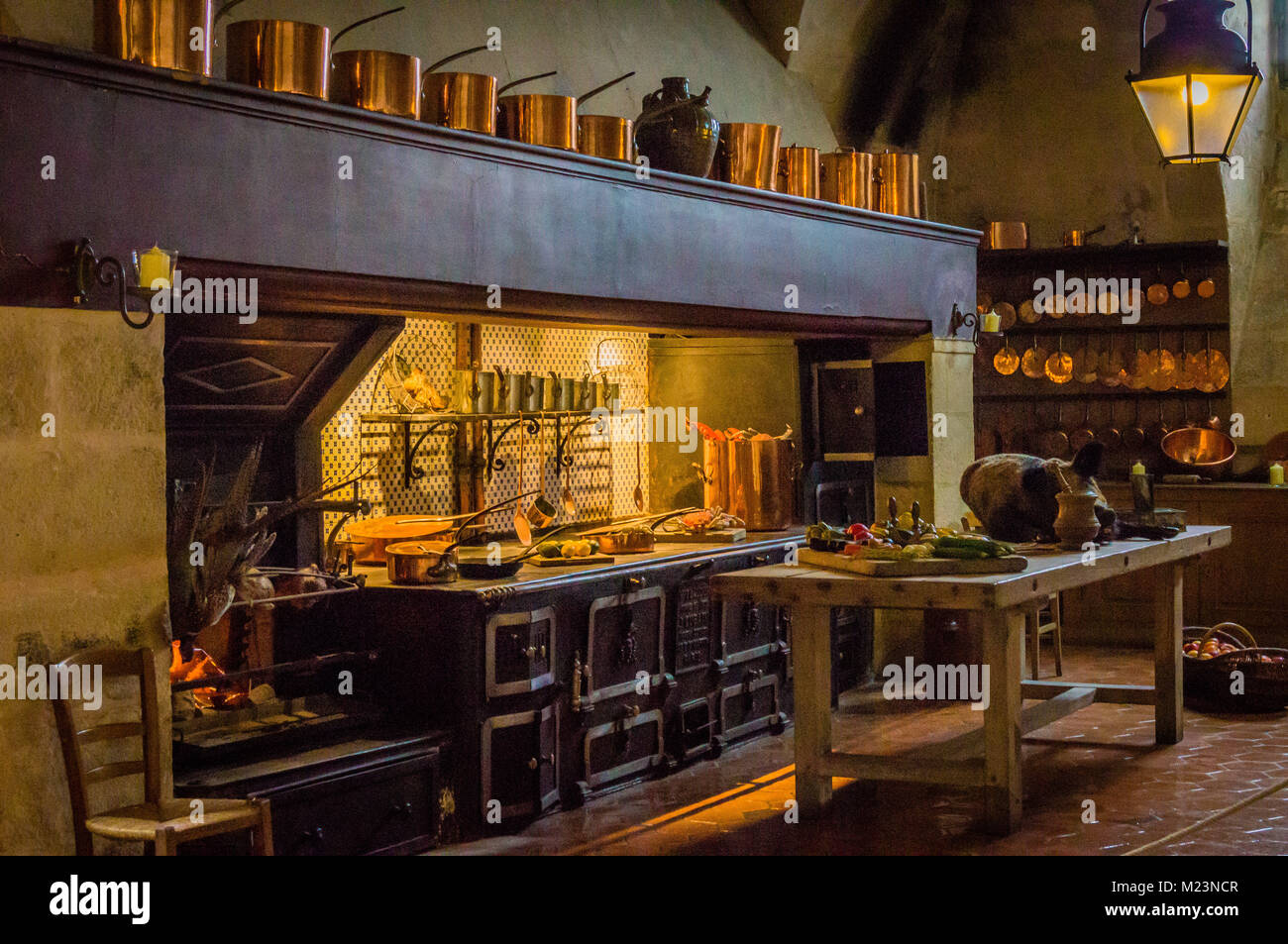 Antique Kitchen From The 18th Century With Copper Saucepans