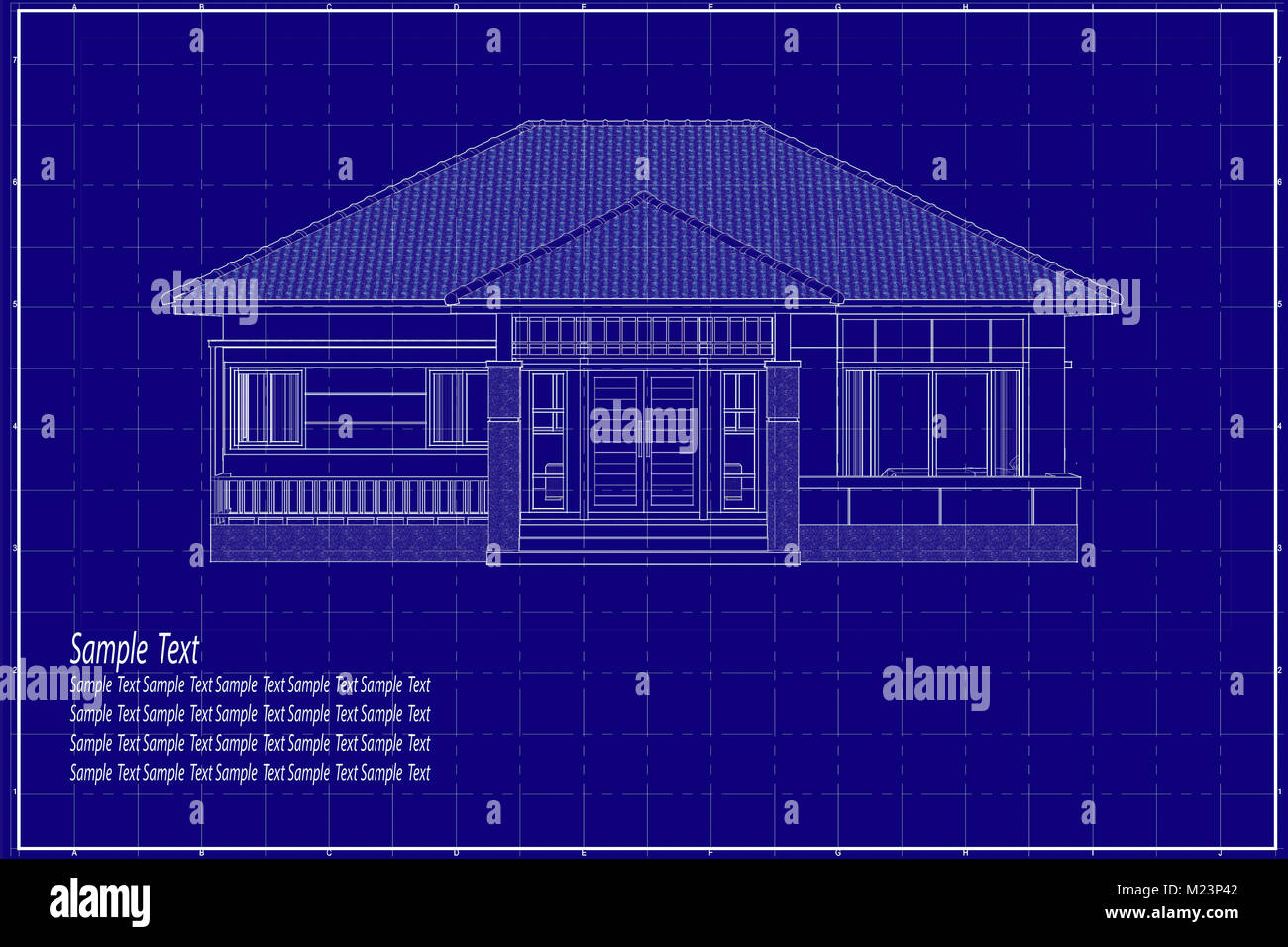 Architectural drawing elevation house on blueprint stock photo architectural drawing elevation house on blueprint malvernweather Image collections
