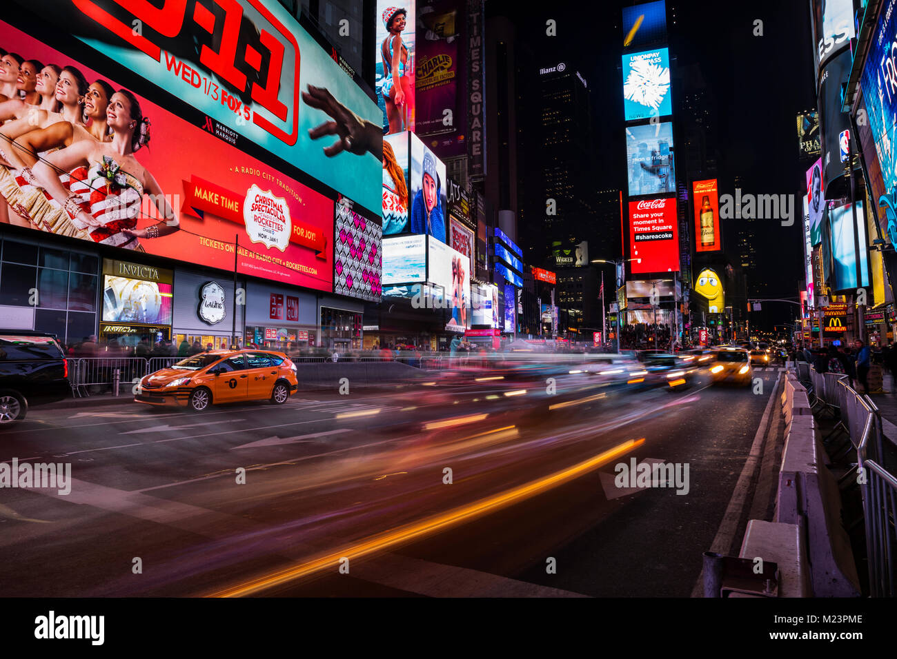 Time Square traffic at night - Stock Image