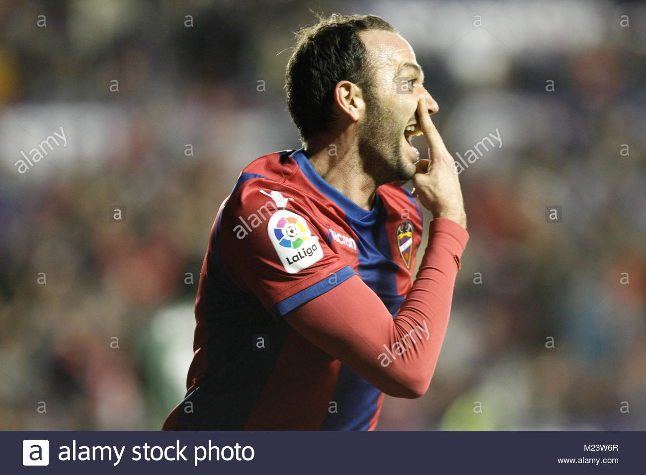 Levante's Pazzini celebrates after score his first goal during a matach Estadio Ciudad de Valencia versus Real - Stock Image