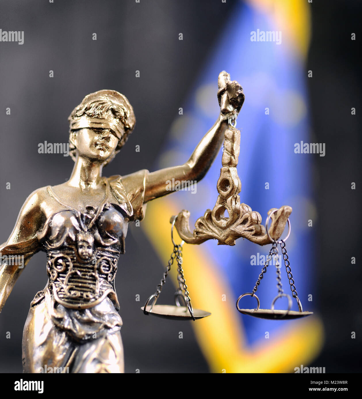 Law and Justice, Legality concept, Scales of Justice, Justitia, Lady Justice in front of the European Union flag - Stock Image