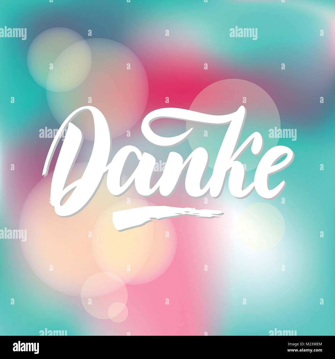 Thank you in German. Vector calligraphy. Danke poster or card. Grey Letters on colorful abstract Background. Hand Stock Vector