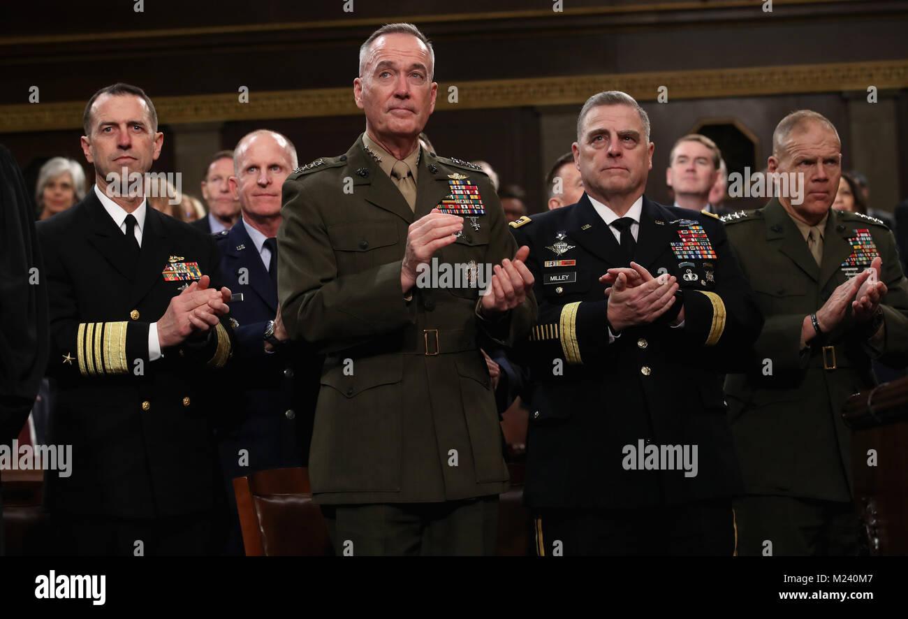 WASHINGTON, DC - JANUARY 30: Chief of Naval Operations Adm. John Richardson (L-R), Chairman of the Joint Chiefs Stock Photo