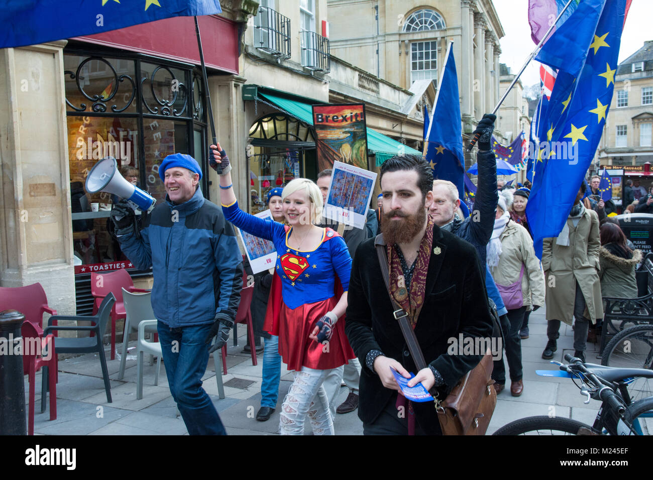Bath, UK, 4th February 2018. Bath Pulse for Europe, A youth lead anti Brexit event in Bath City centre featuring - Stock Image
