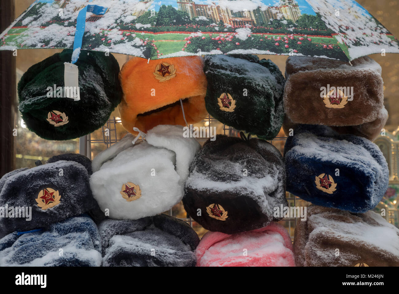 Moscow, Russia - February, 4, 2018: View of Soviet Army's winter hats in Moscow's downtown souvenir shop during Stock Photo