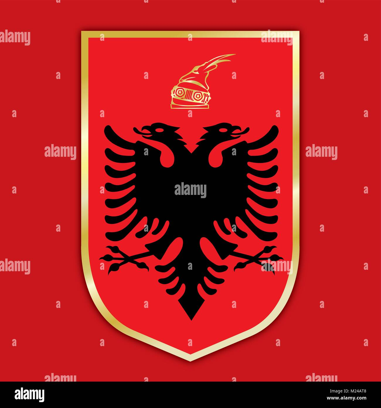 Albania coat of arms and flag, official symbols of the country - Stock Vector