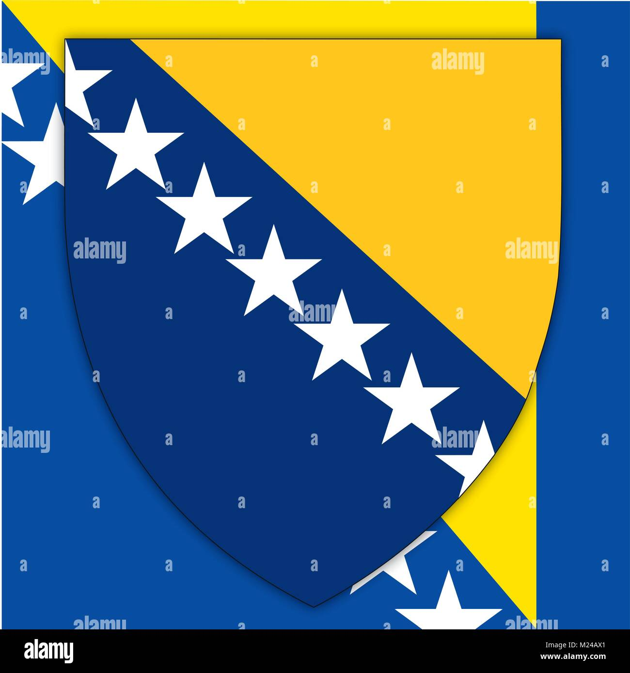 Bosnia and Herzegovina coat of arms and flag, official symbols of the nation - Stock Vector