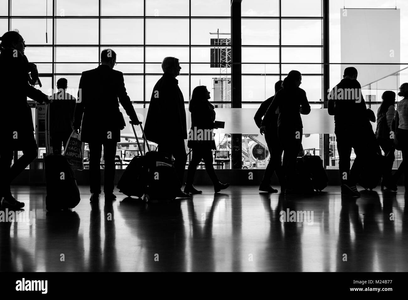 silhoutte Airport Sweden - Stock Image
