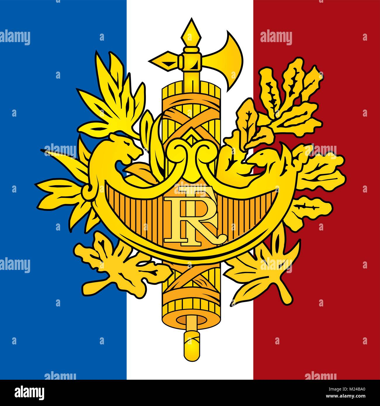France coat of arms and flag, official symbols of the nation - Stock Vector