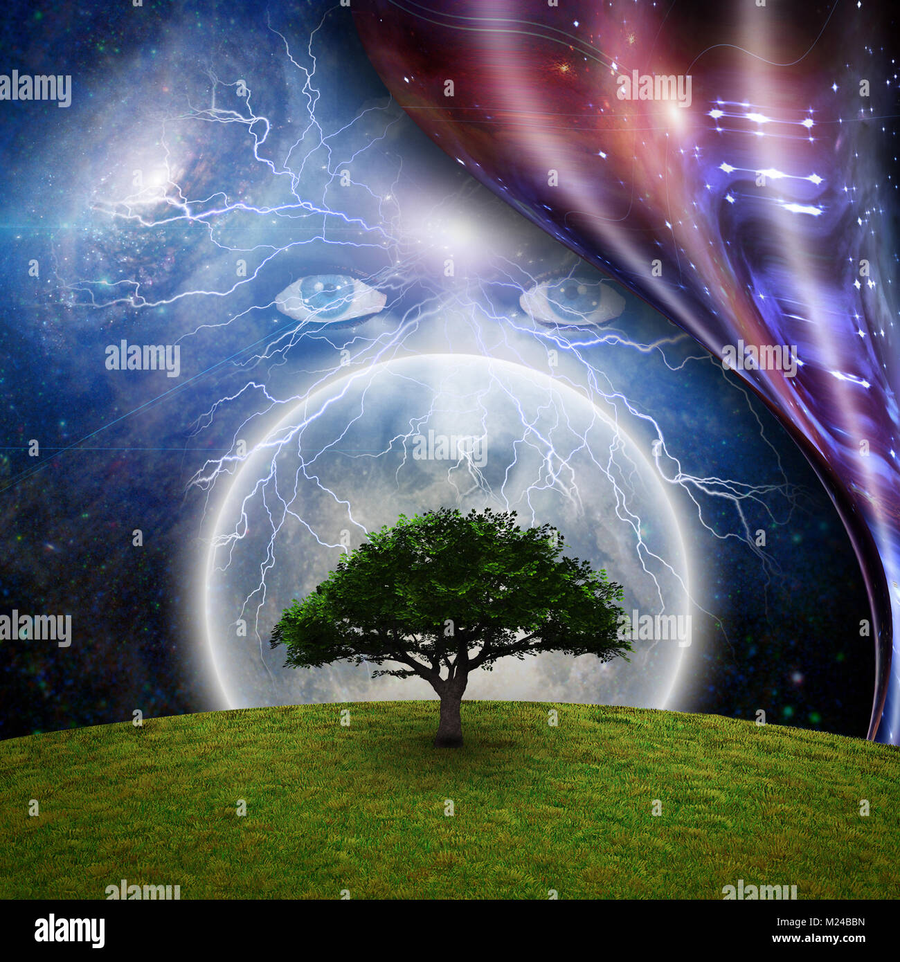 Mystic face before full moon, green tree and warped space. 3D rendering. - Stock Image