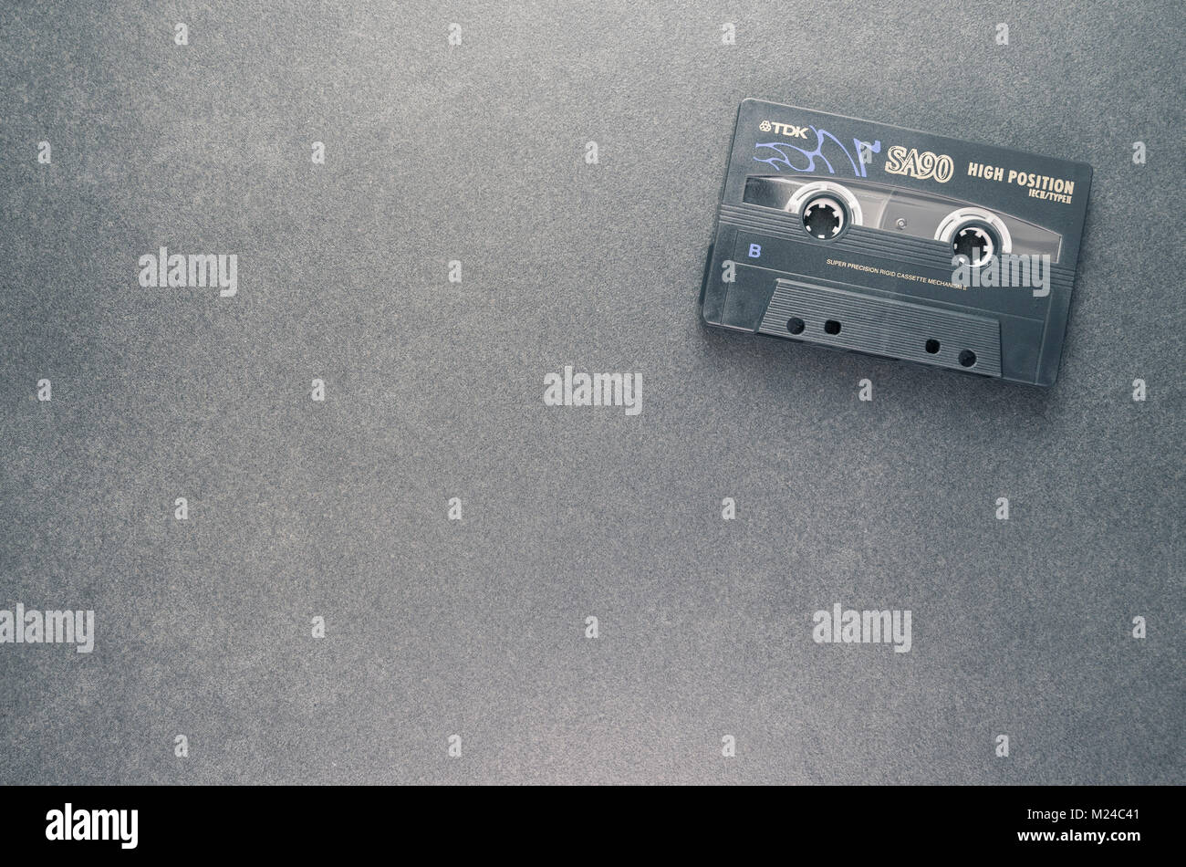 compact magnetic tape analog audio recording cassette - directly above view - Stock Image