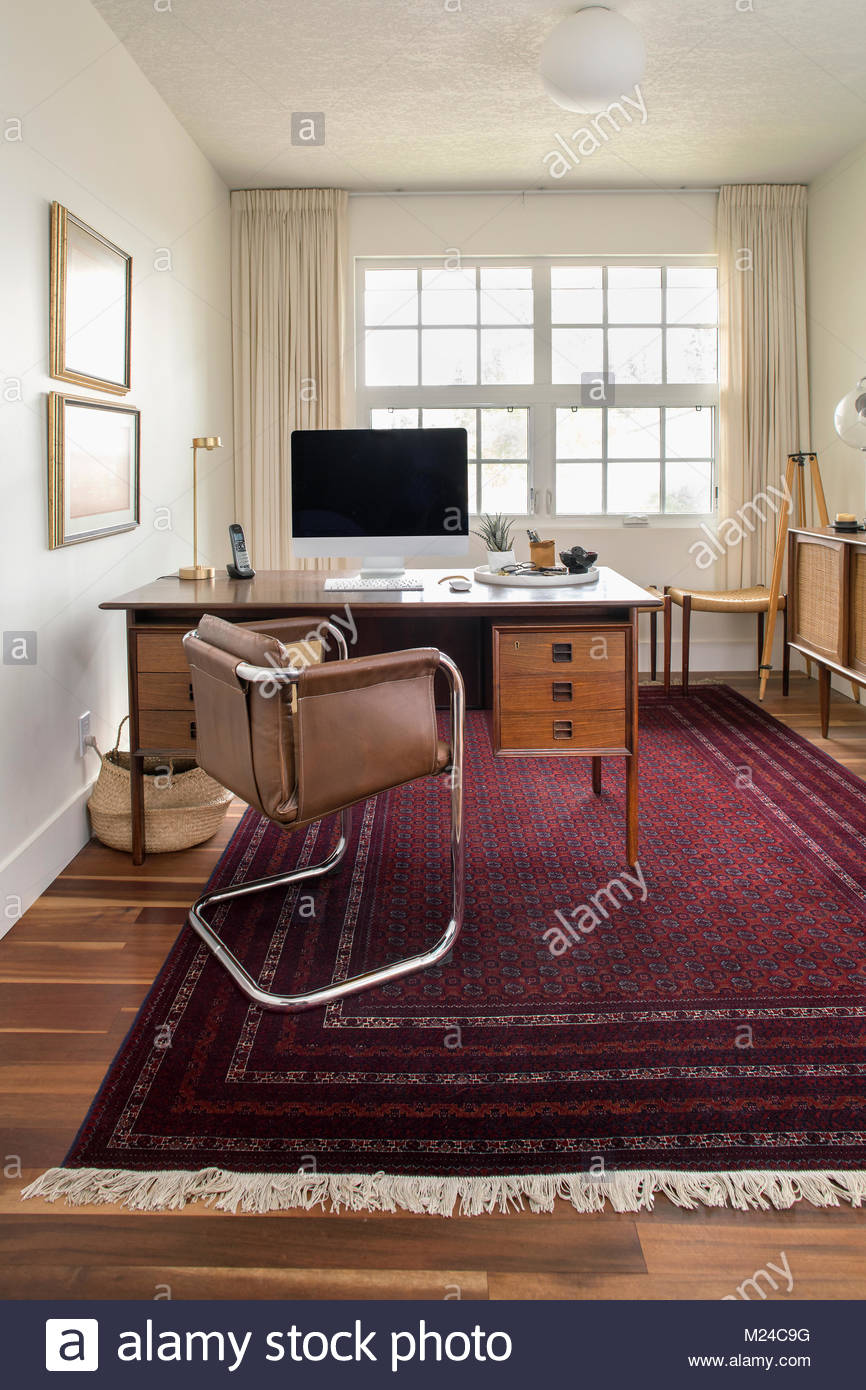 Mid-century modern home office - Stock Image