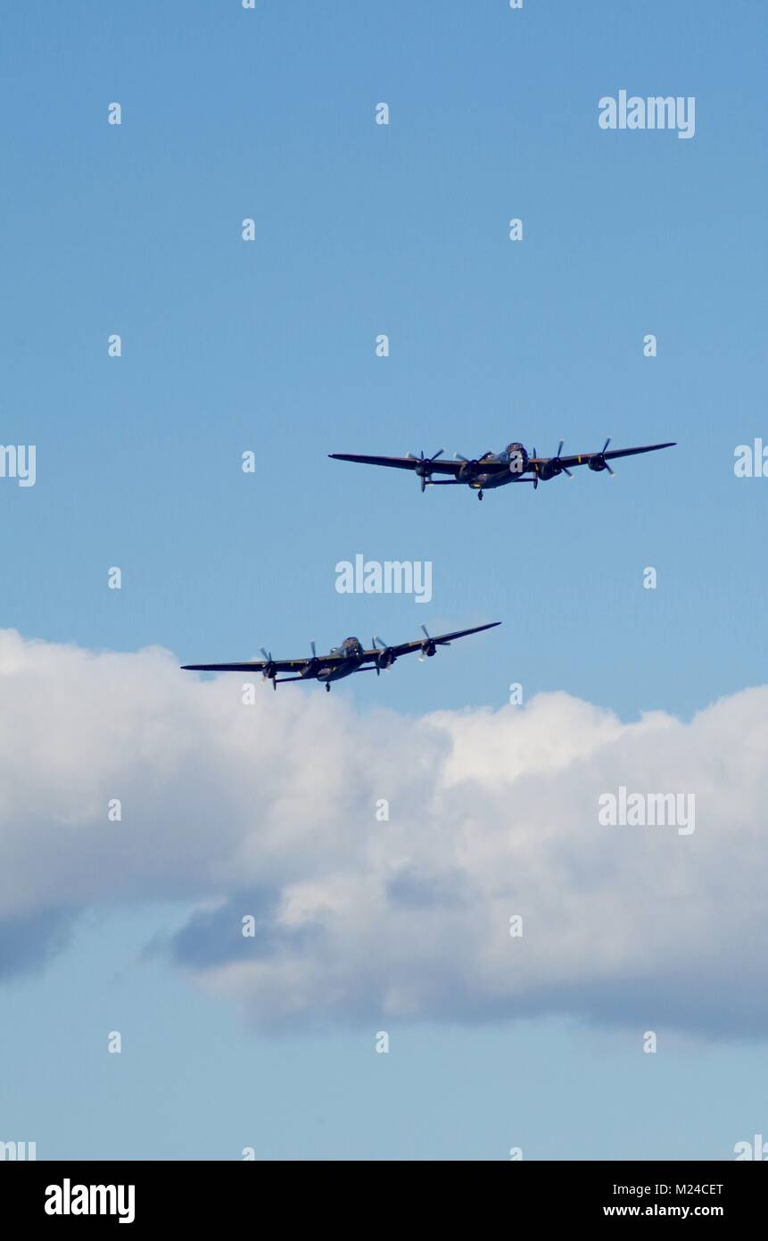 The Battle of Britain Memorial Flight with the Last Two Airworthy Avro Lancaster Bombers, Thumper and Vera. Dawlish - Stock Image