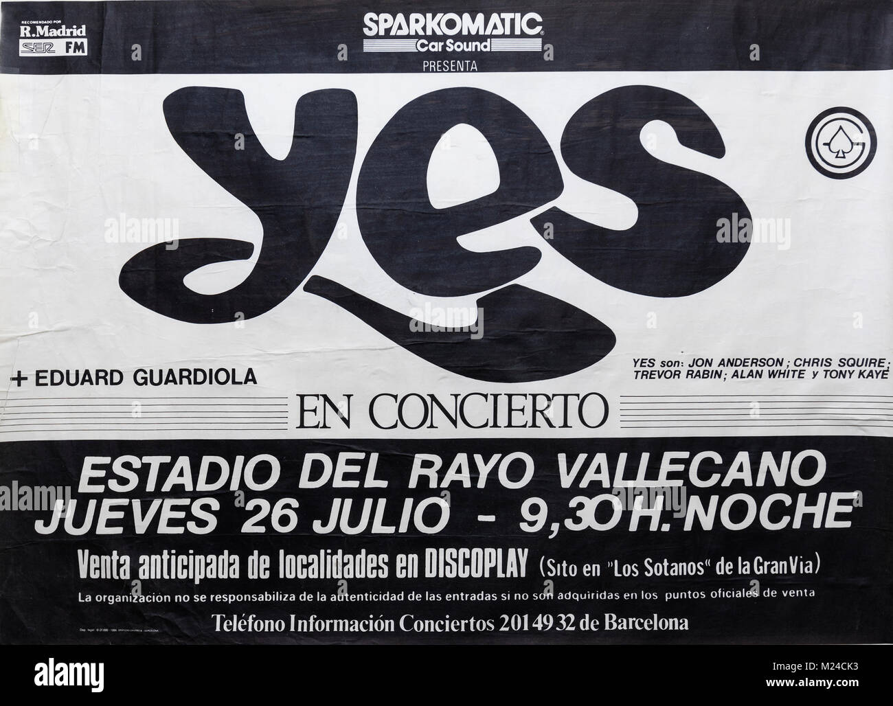 Yes group with Jon Anderson plus Eduard Guardiola in concert, Madrid 1984. Musical concert poster - Stock Image