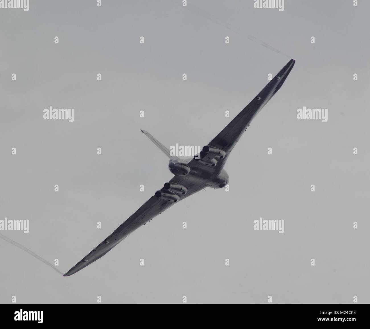 The Avro Vulcan, Iconic Delta Winged, Nuclear Capable Bomber of the Cold War. Best of Brirish. Flying at Dawlish - Stock Image