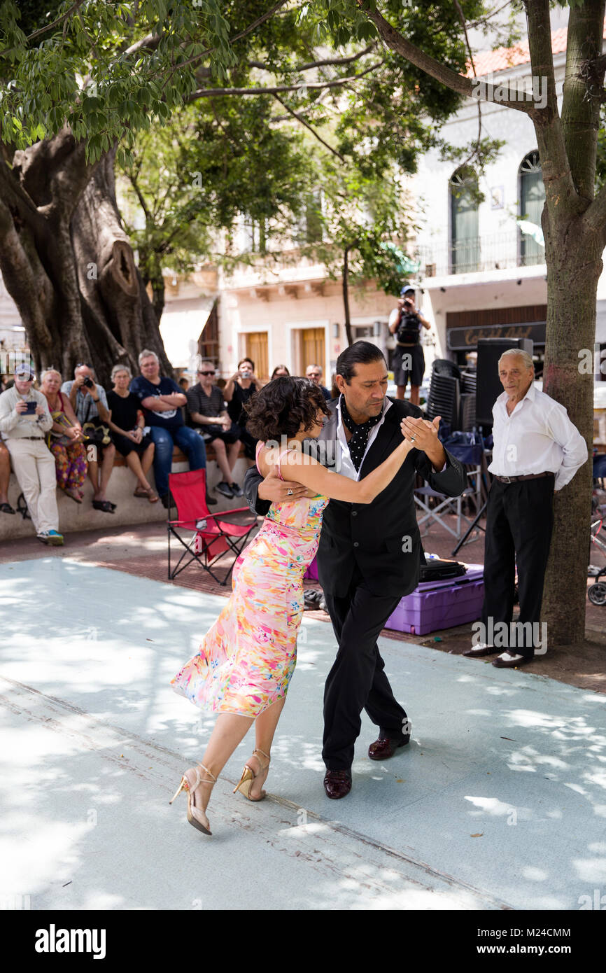 BUENOS, AIRES, ARGENTINA - JANUARY 21, 2018: Unidentified tango dancers on San Telmo flea market in Buenos Aires, - Stock Image