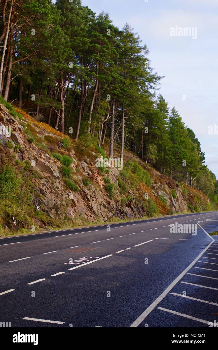 The A82 Road to Inverness past Loch Ness at a Scenic Viewing Pull-In. UK. October, 2017. - Stock Image