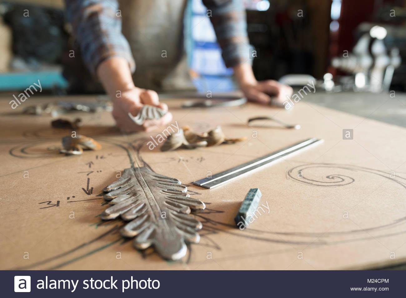 Creative blacksmith planning design - Stock Image