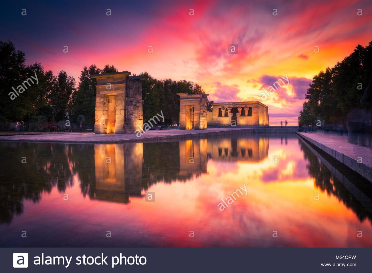 Templo de Debod at sunset. Madrid. - Stock Image