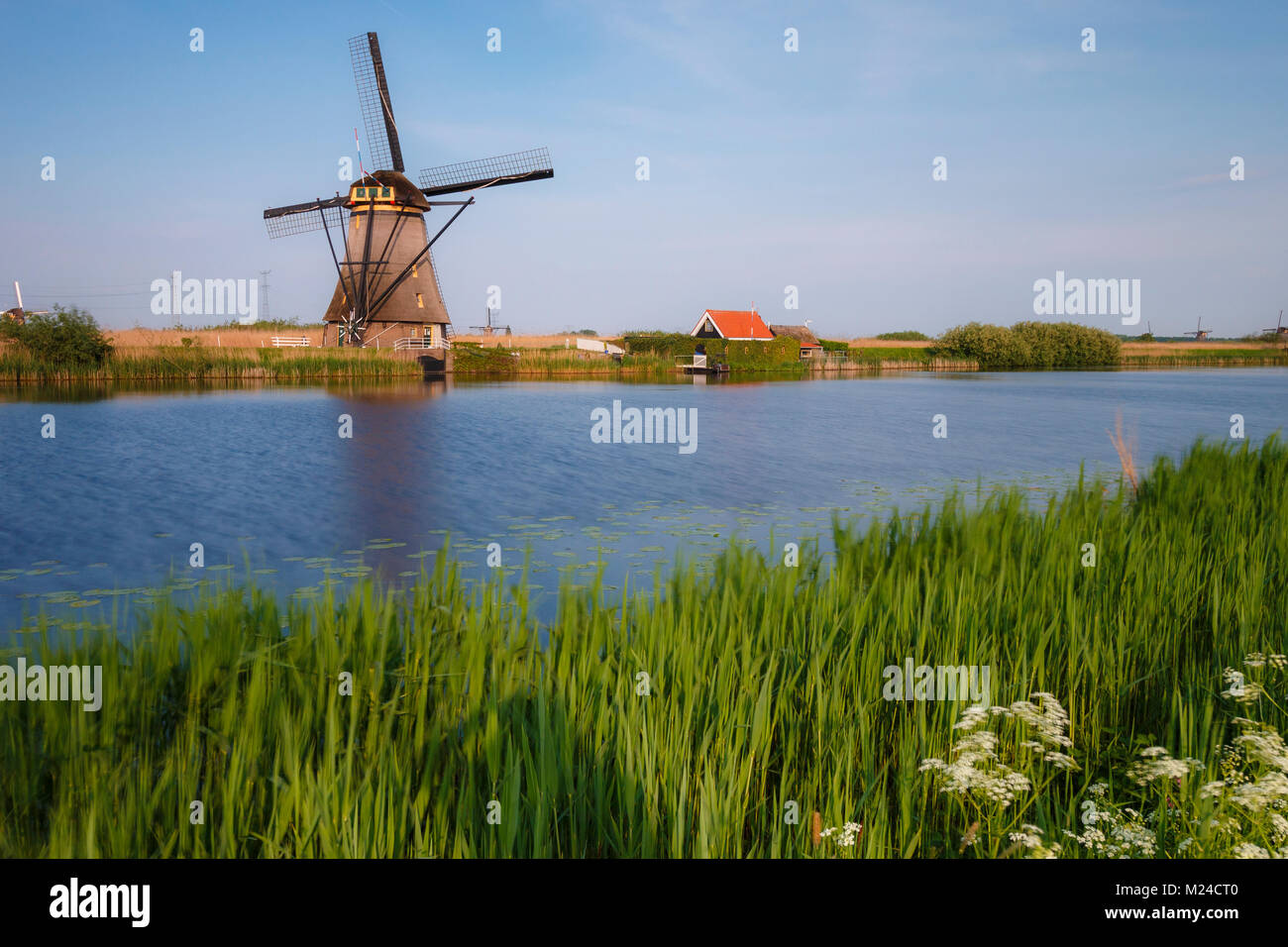 Netherlands kinderdijk historic windmill at a lake - Stock Image