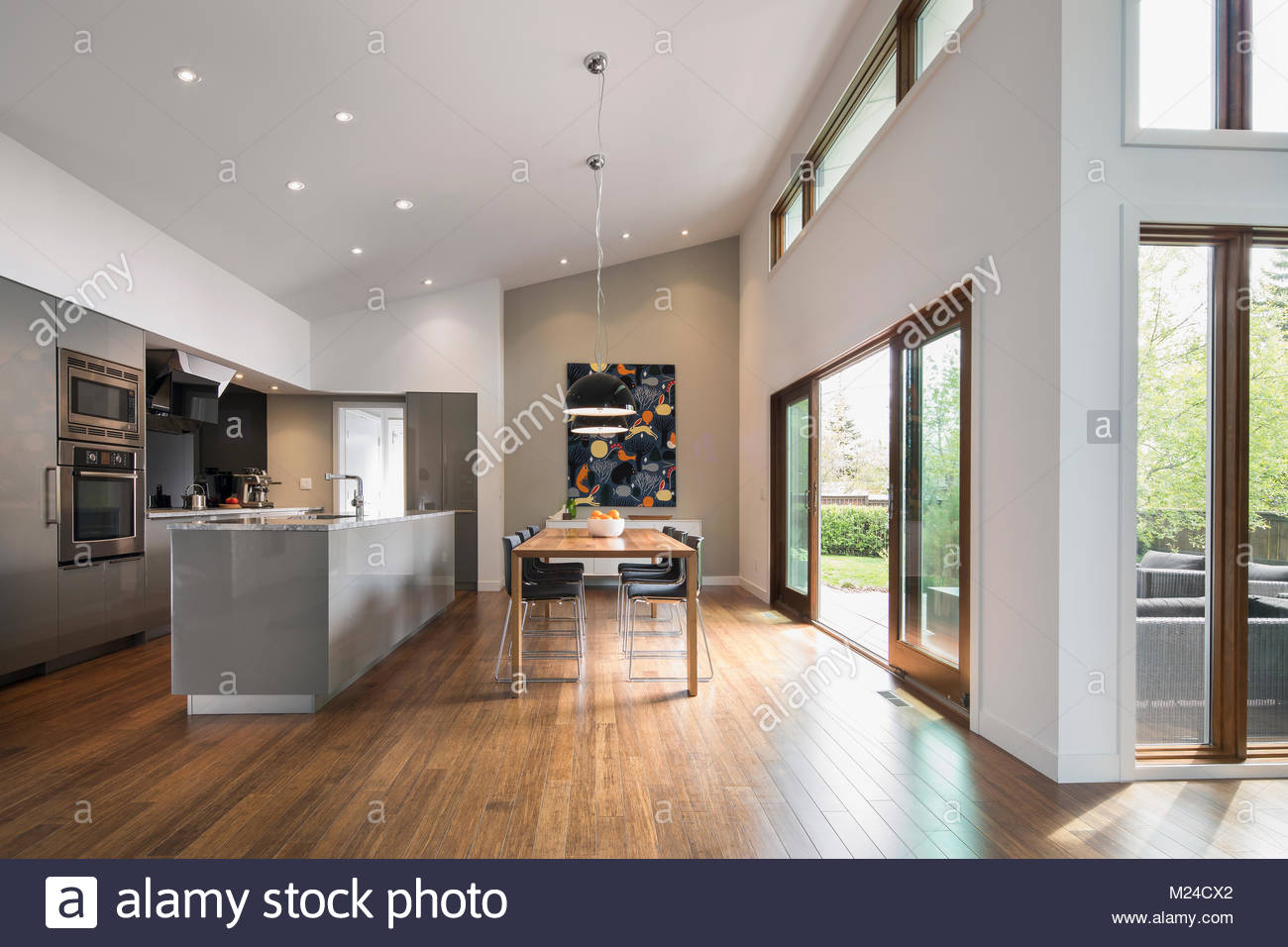 Home showcase open plan kitchen and dining room - Stock Image