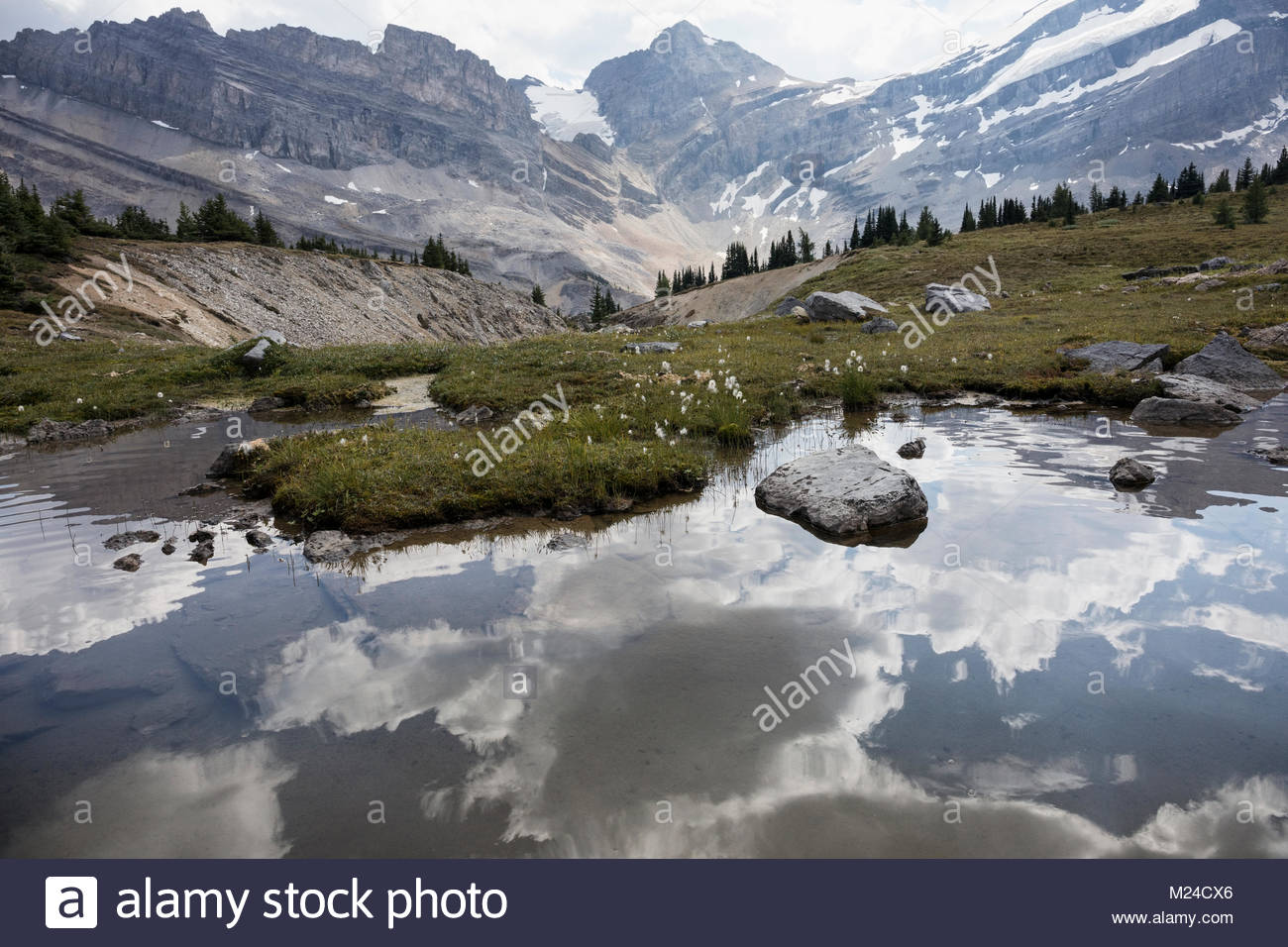 Reflection of clouds in tranquil, placid lake below mountains - Stock Image