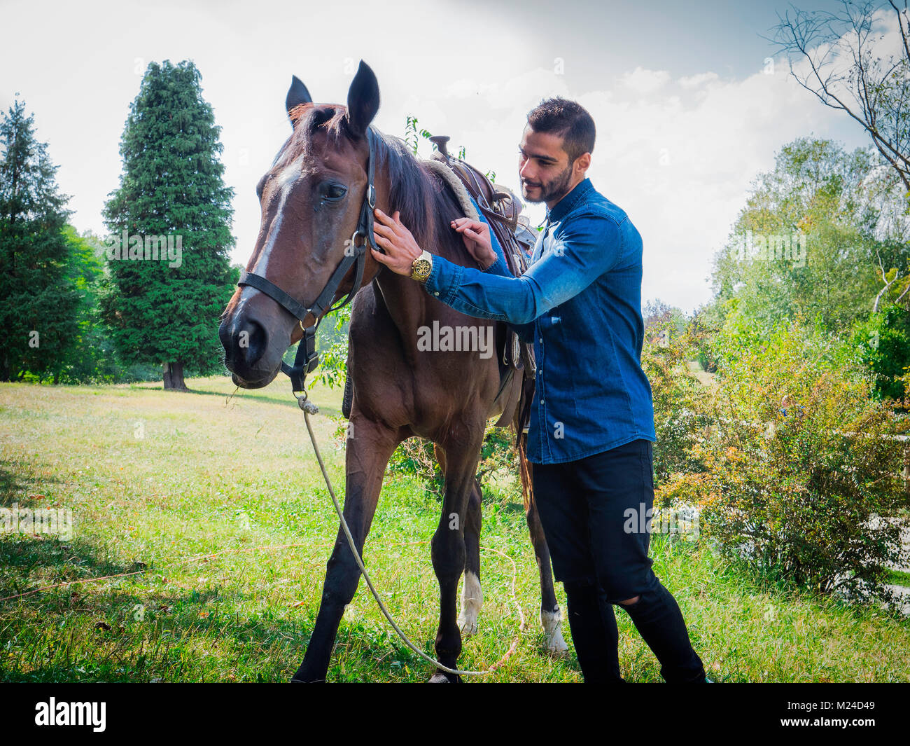 Handsome man by horse - Stock Image