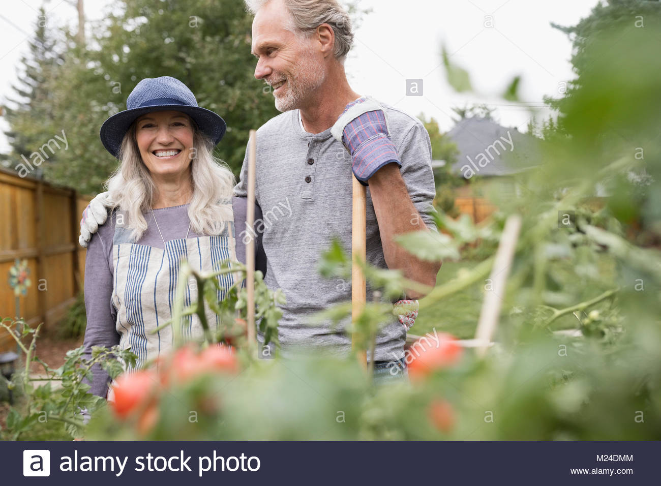 Smiling senior couple gardening - Stock Image