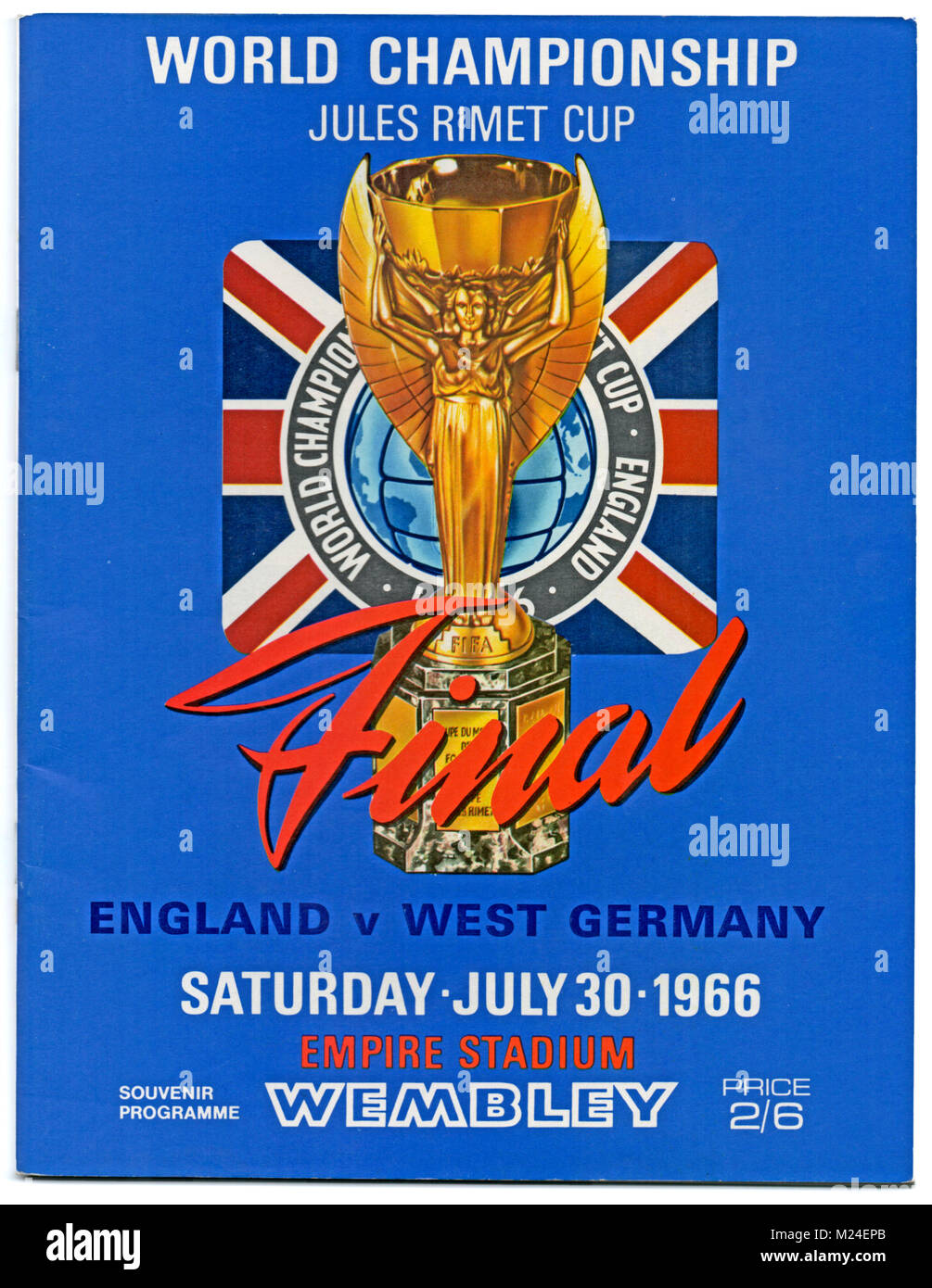 Football Programme: 1966 World Cup Final, England v West Germany, 30th July 1966. England won 4-2 after extra time. Stock Photo