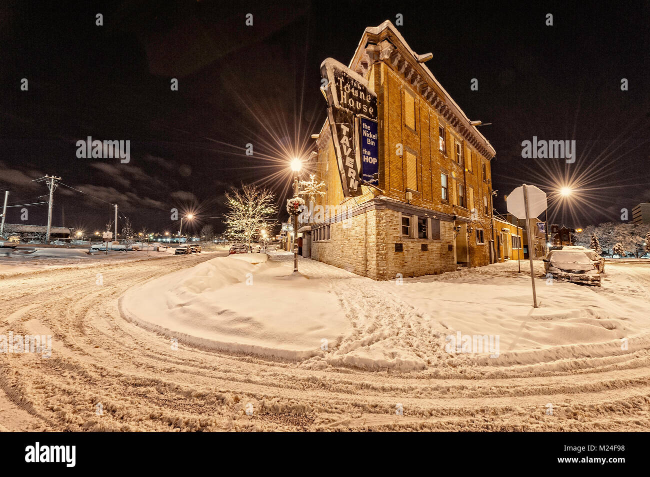 The historic townhouse hotel in downtown sudbury on a winter night - Stock Image