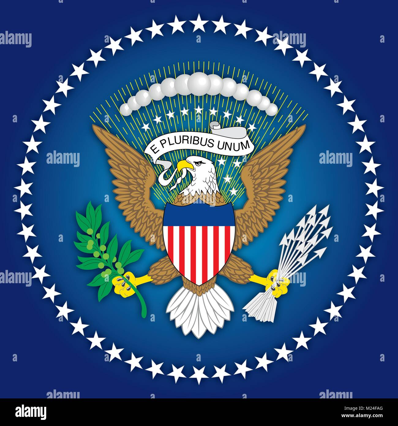 United States of America coat of arms and flag, symbols of the country - Stock Vector