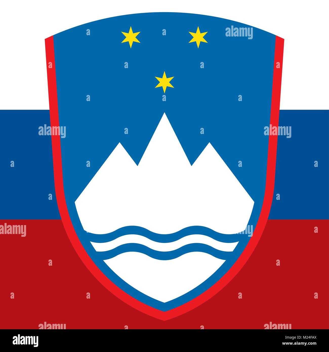 Slovenia coat of arms and flag, symbols of the country - Stock Vector
