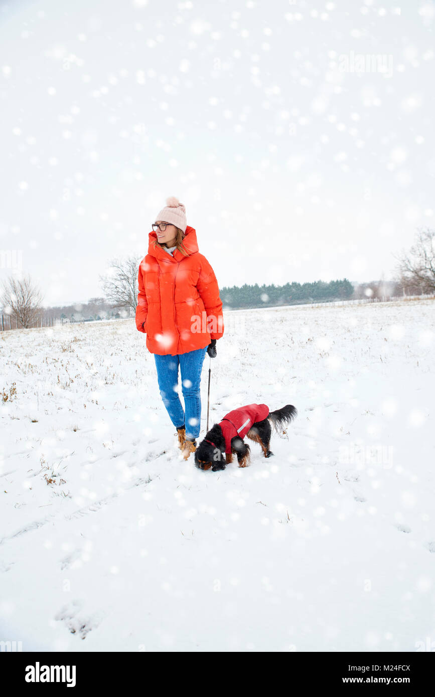 Full length shot of happy woman walking with her small dog outdoor in the snowfall. - Stock Image