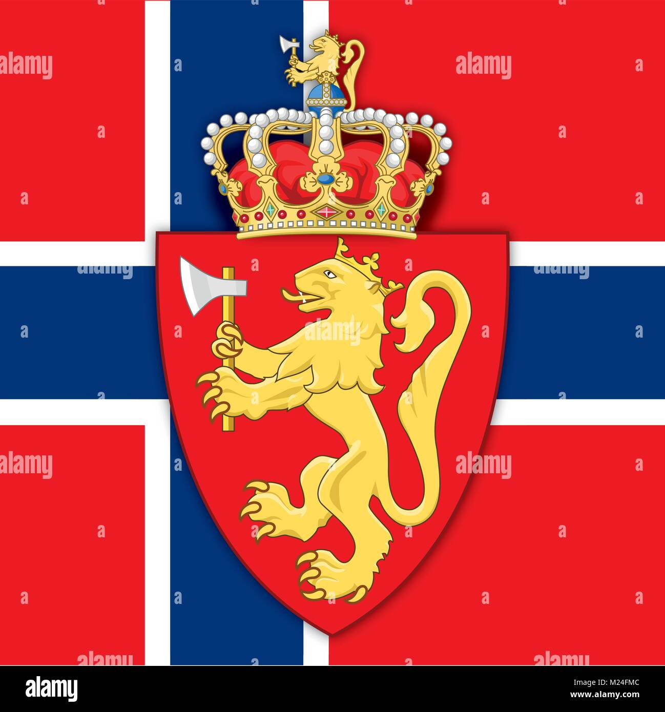 Norway coat of arms and flag, symbols of the country - Stock Vector