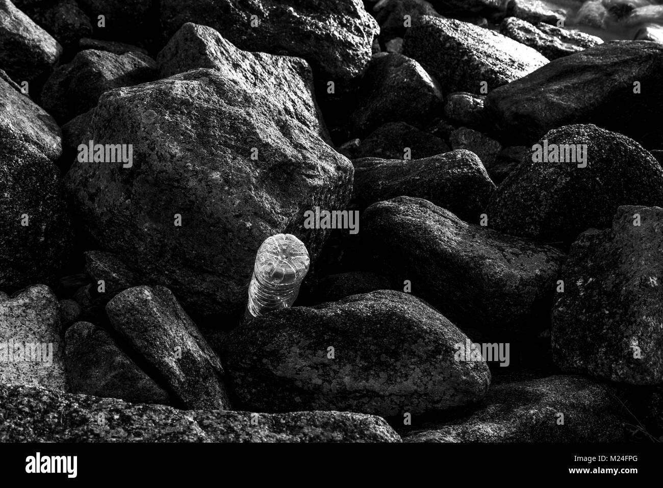 A solitary plastic bottle caught amongst the rocks as the morning sun refracts through it's creases and condensation. - Stock Image