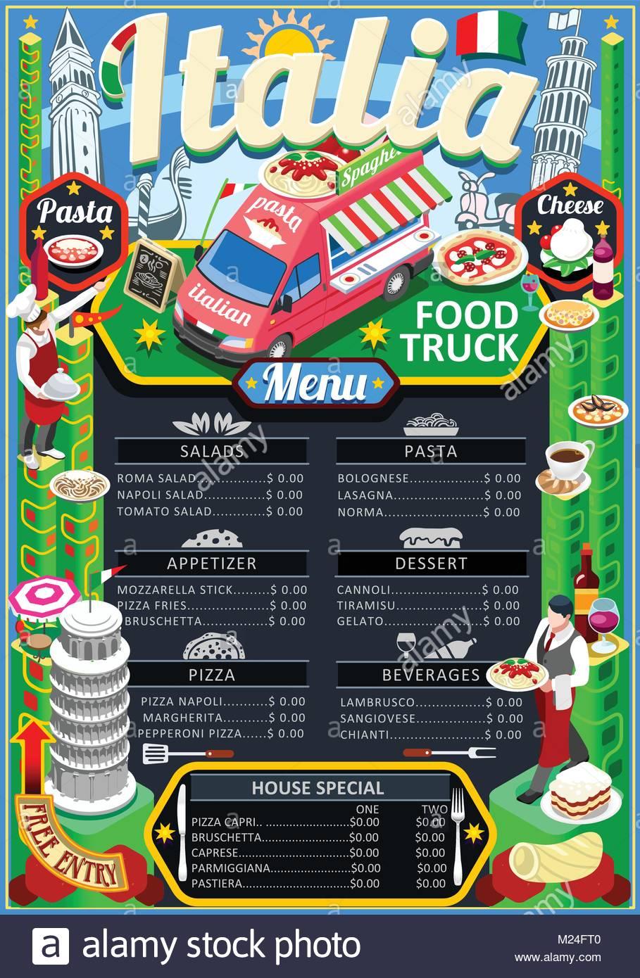 fast food truck festival italian pizza or pasta menu brochure street