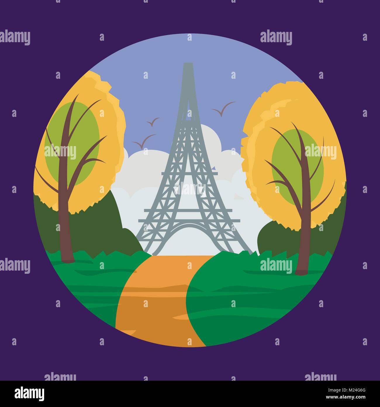 Eiffel tower in Paris for travel design. - Stock Vector