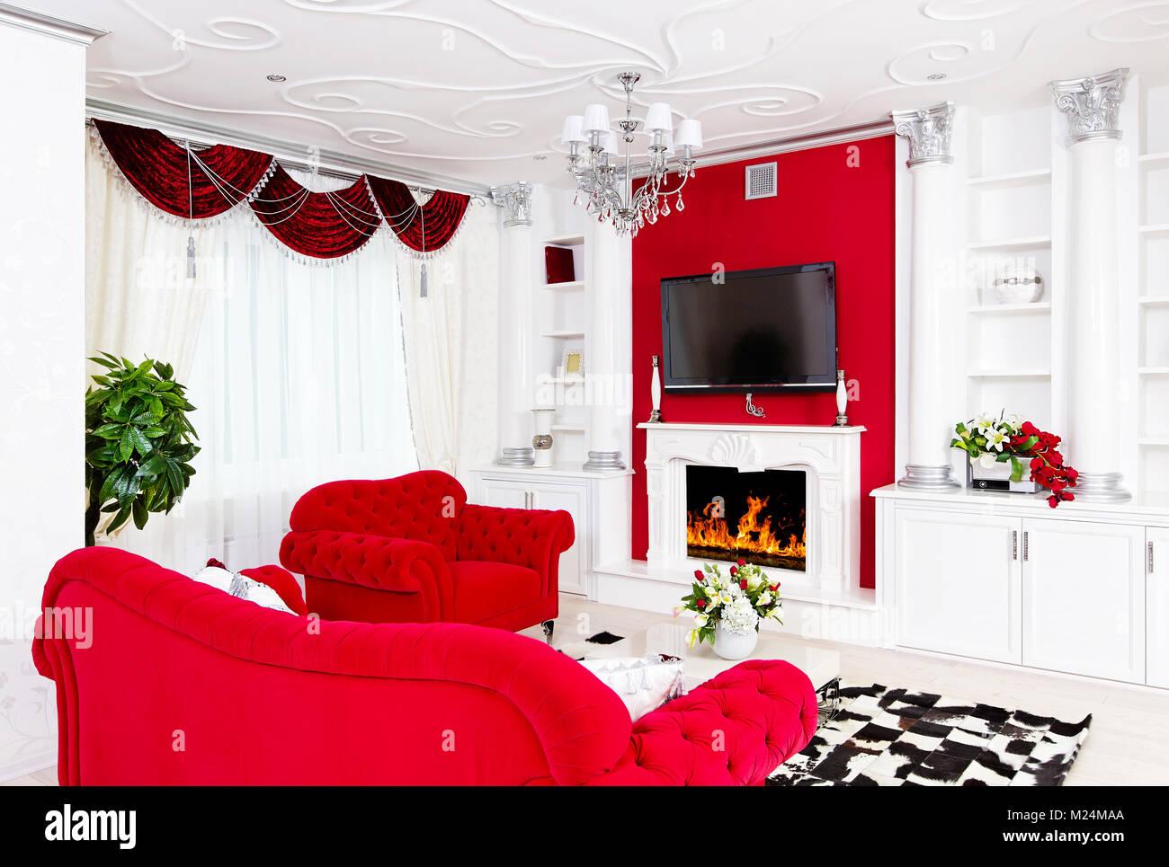 Living Room Empty White Column Stock Photos & Living Room Empty ...