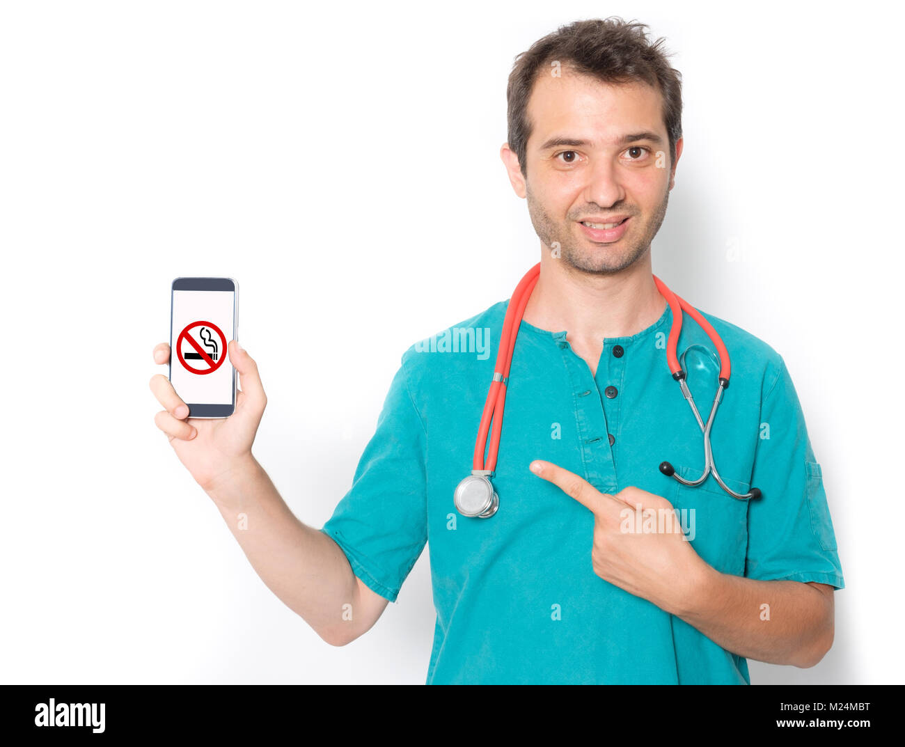 Doctor and stop smoking symbol on mobile phone - Stock Image