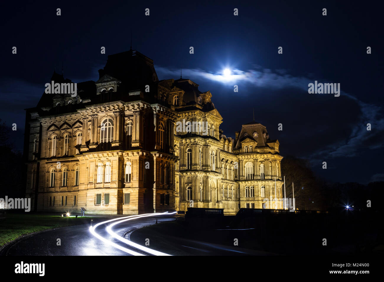 The Bowes Museum in Barnard Castle Under a Moonlit Sky, Teesdale, County Durham, UK. - Stock Image