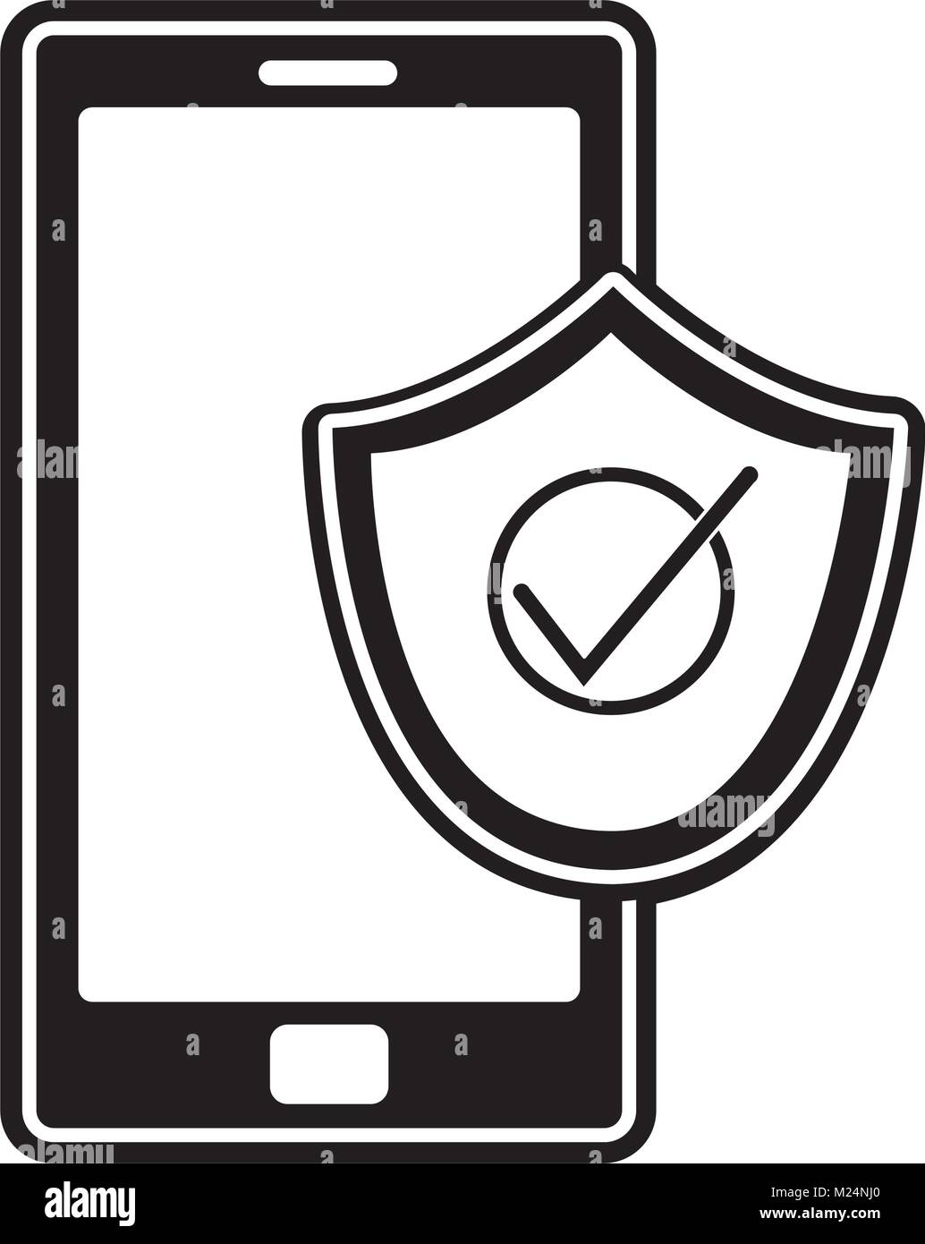 silhouete smartphone technology with shield security icon - Stock Image