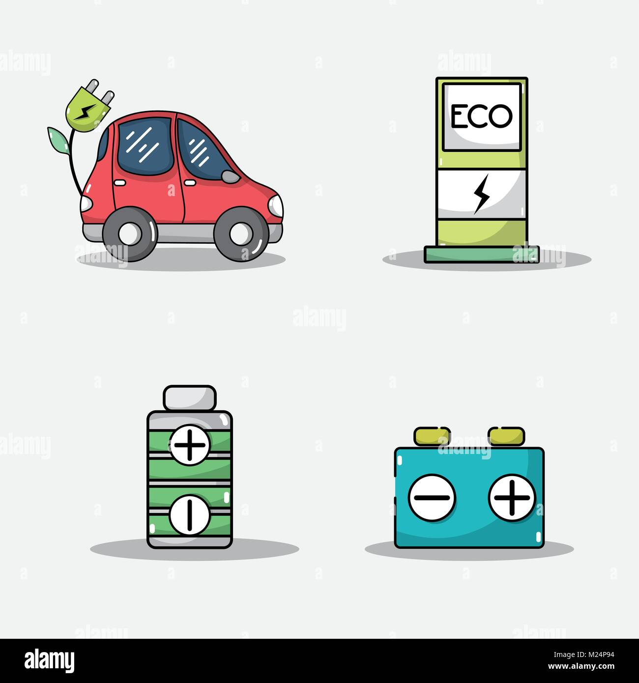 set electric car battery and energy recharge technology - Stock Image