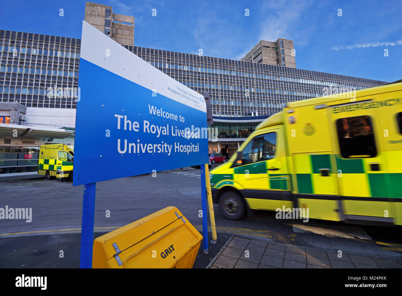 An emergency ambulance rushing into The Royal Liverpool University Hospital in the city of Liverpool, England. UK. - Stock Image