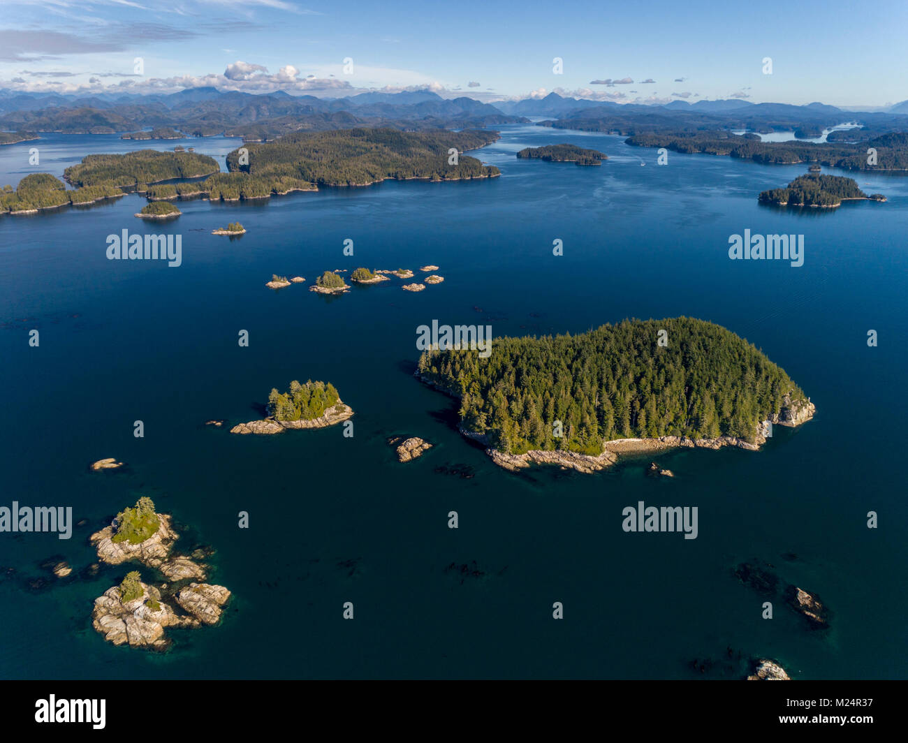 Aerial photograph of the Broughton Archipelago Marine Park and the entrance of Knight Inlet, First Nations Territory, - Stock Image