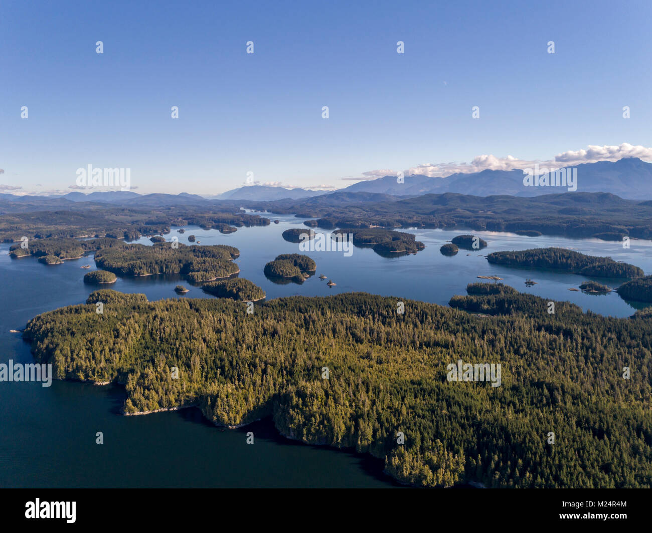 Aerial photograph of the Broughton Archipelago Marine Park, First Nations Territory, British Columbia, Canada. - Stock Image