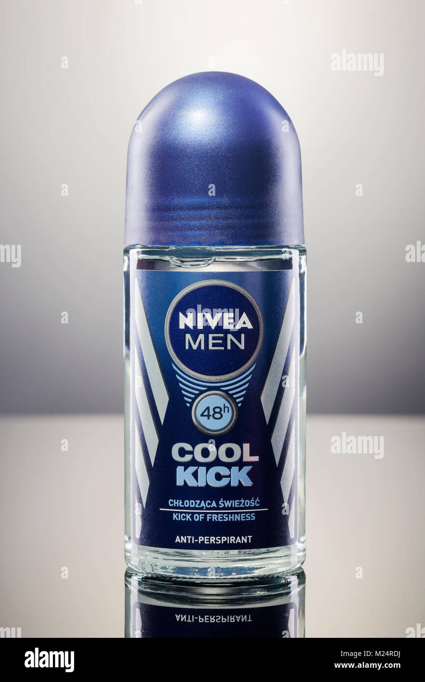 Nivea deodorant isolated on gradient background. - Stock Image