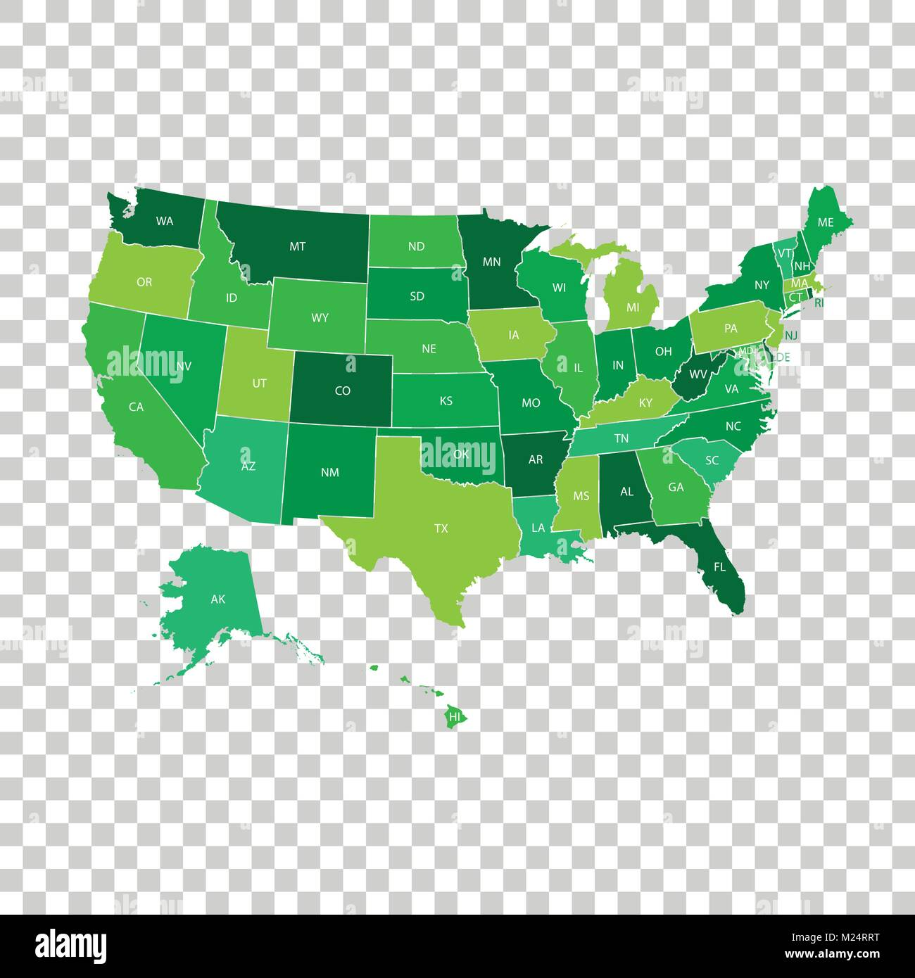 high detailed usa map with federal states vector illustration united states of america in green