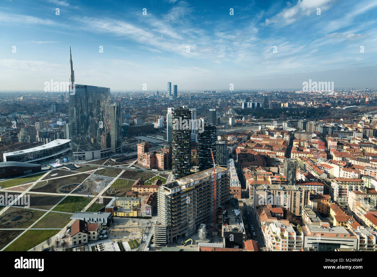 Milan skyline and view of Porta Nuova business district in Italy - Stock Image